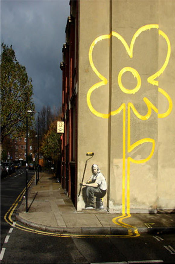 Yellow-Lines-Flower-Painter-by-Banksy